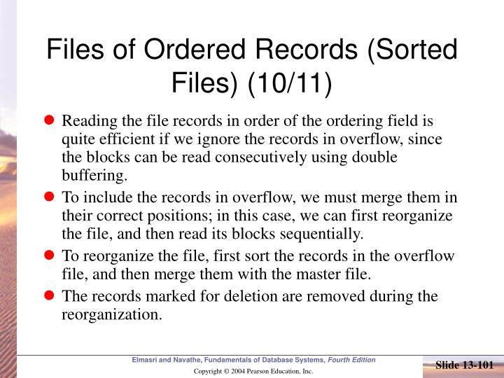 Files of Ordered Records (Sorted Files) (10/11)