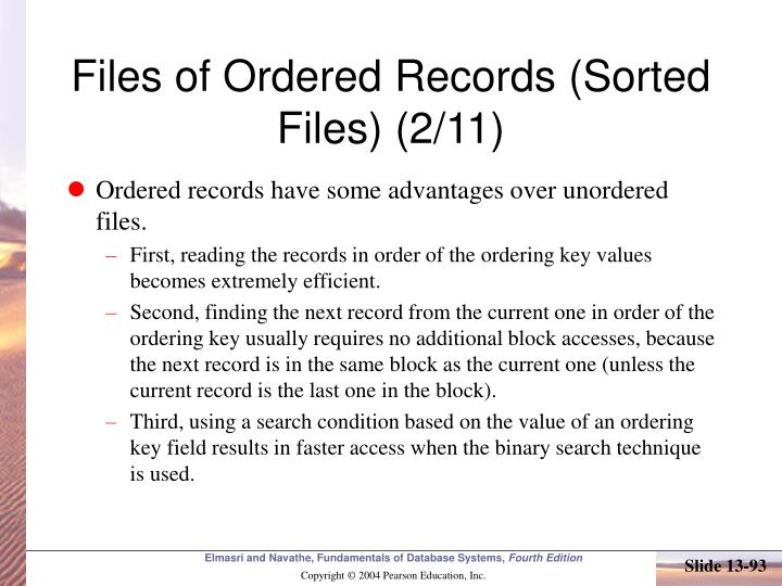 Files of Ordered Records (Sorted Files) (2/11)