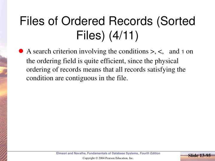 Files of Ordered Records (Sorted Files) (4/11)
