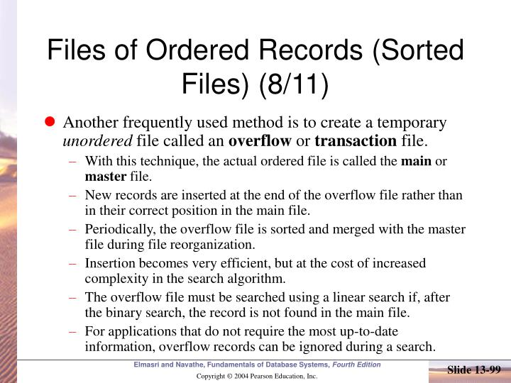 Files of Ordered Records (Sorted Files) (8/11)