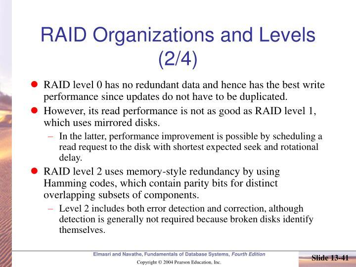 RAID Organizations and Levels (2/4)