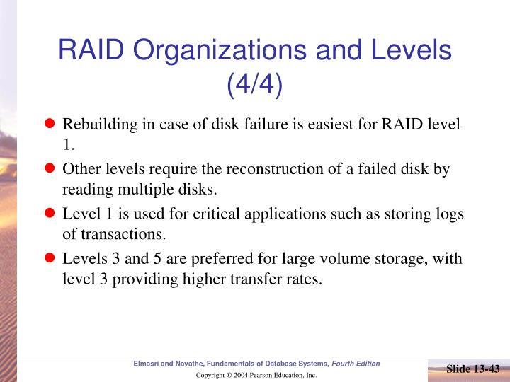 RAID Organizations and Levels (4/4)