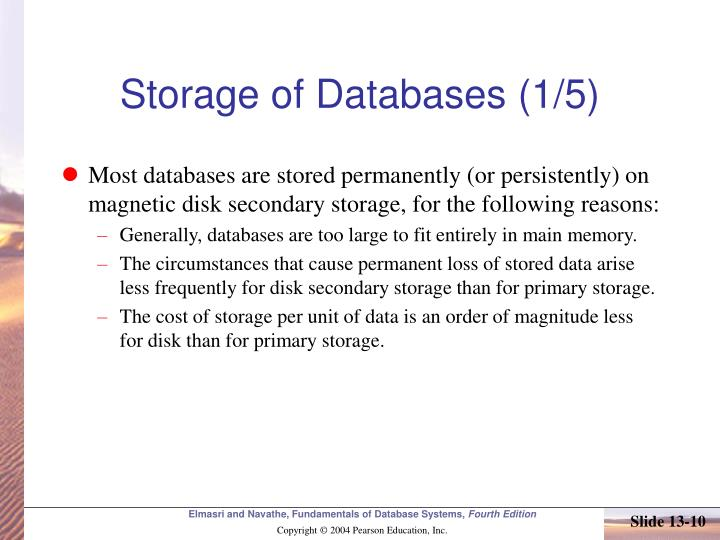 Storage of Databases (1/5)