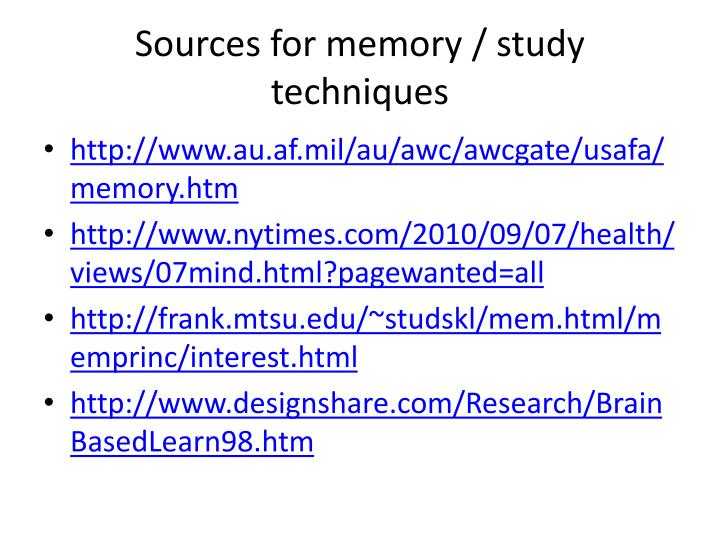 sources for memory study techniques n.