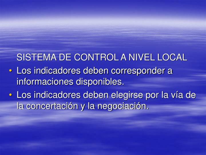 SISTEMA DE CONTROL A NIVEL LOCAL