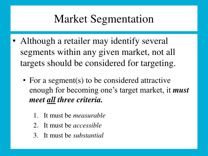 disney segmentation criteria that will affect your target market selection Segmenting industrial markets after performing market segmentation the evaluation and selection of segments to target in industrial markets.