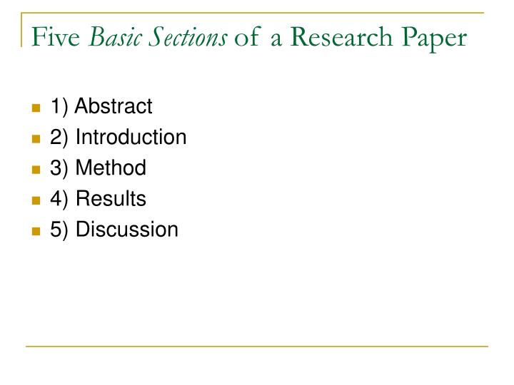 five basic sections of a research paper n.