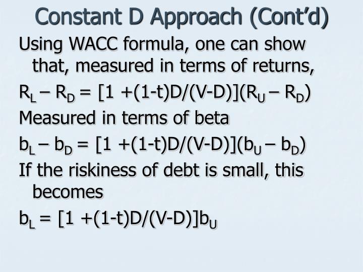 Constant D Approach (Cont'd)