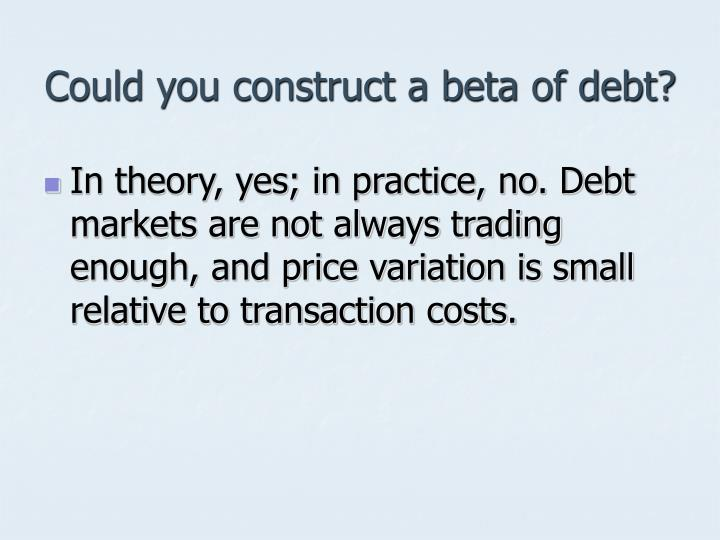 Could you construct a beta of debt?