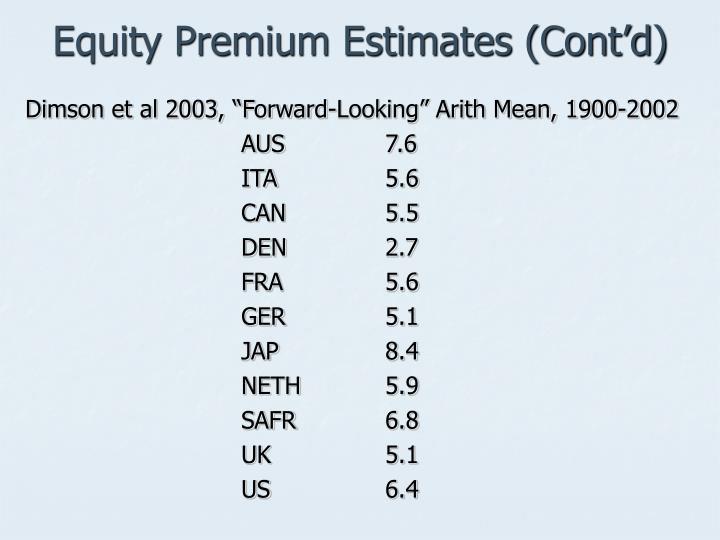 Equity Premium Estimates (Cont'd)
