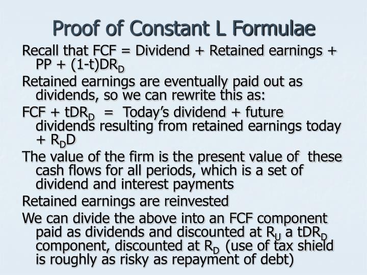 Proof of Constant L Formulae