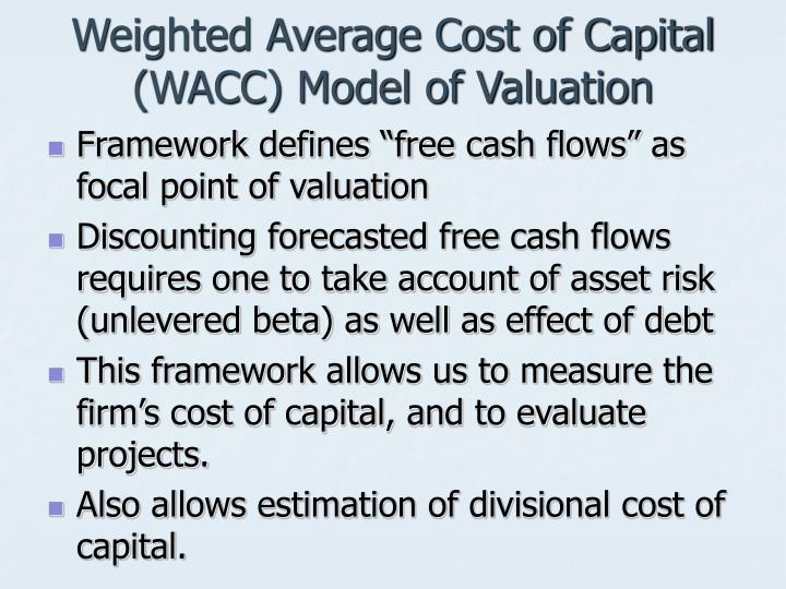 Weighted average cost of capital wacc model of valuation