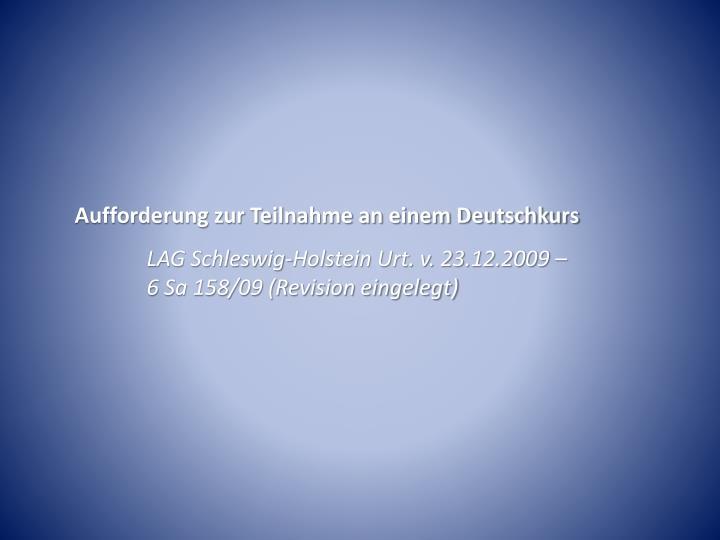 Aufforderung zur Teilnahme an einem Deutschkurs