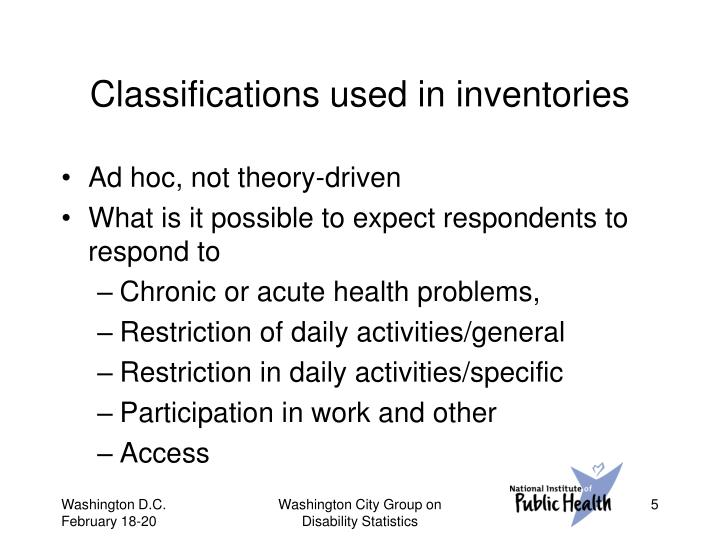 Classifications used in inventories