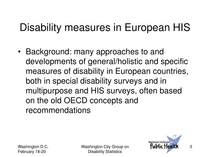 Disability measures in european his