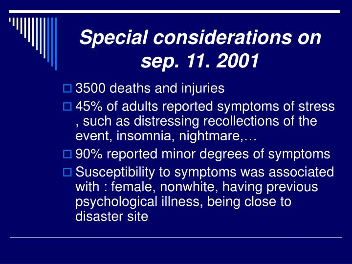 Special considerations on sep. 11. 2001