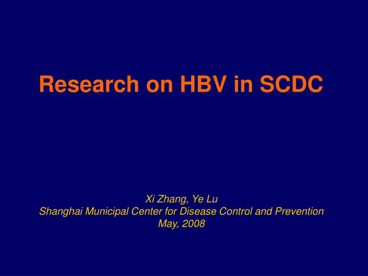 research on hbv in scdc n.
