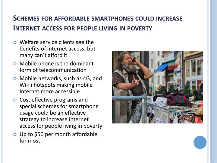Schemes for affordable smartphones could increase Internet access for people living in poverty