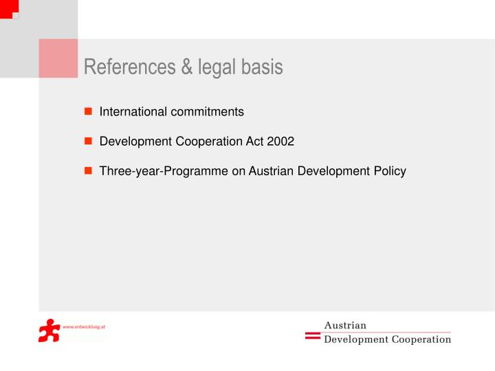 References & legal basis