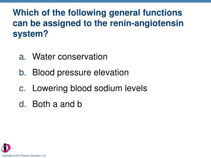 Which of the following general functions can be assigned to the renin-angiotensin system?