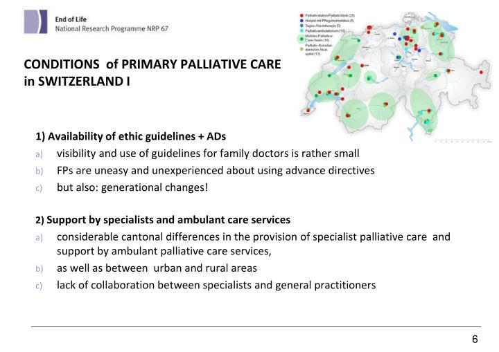 CONDITIONS  of PRIMARY PALLIATIVE CARE