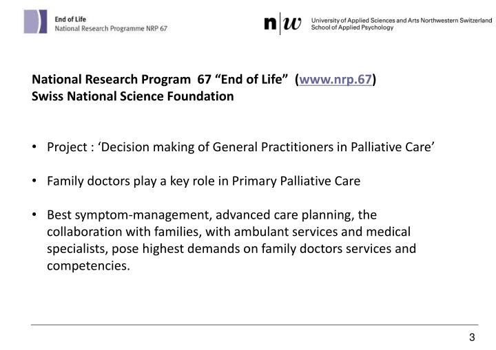 """National Research Program  67 """"End of Life""""  ("""