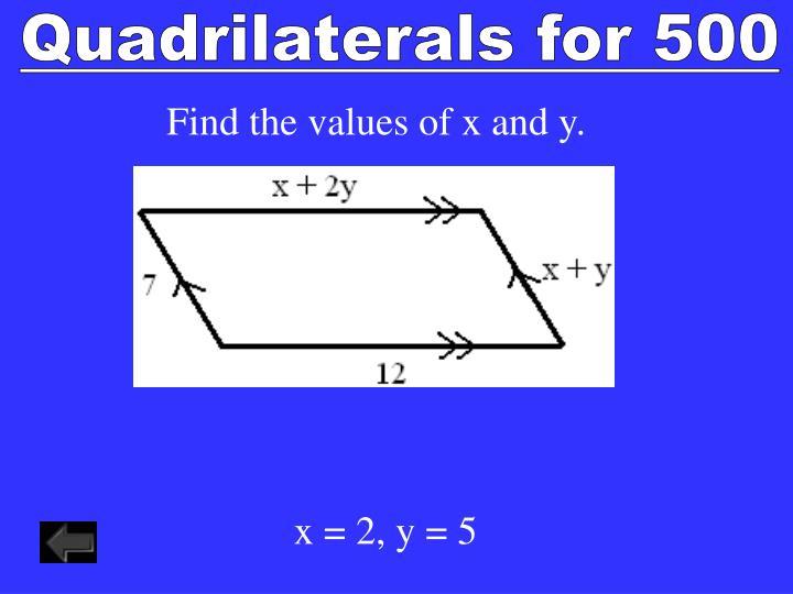 Quadrilaterals for 500