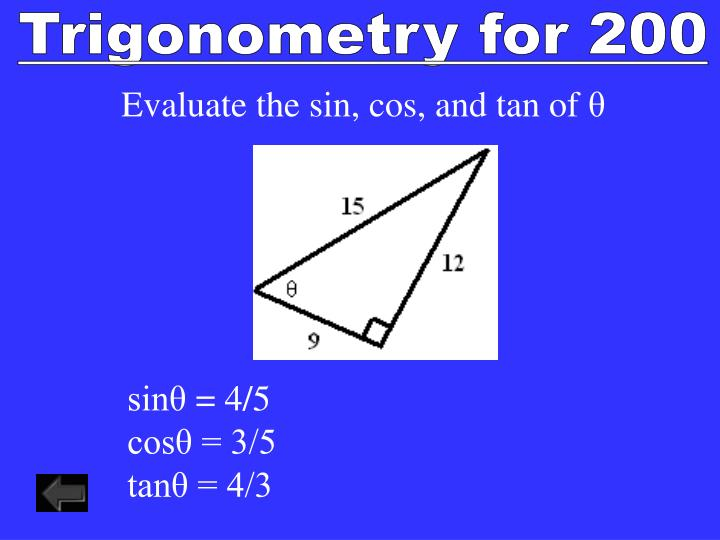 Trigonometry for 200