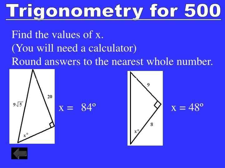 Trigonometry for 500