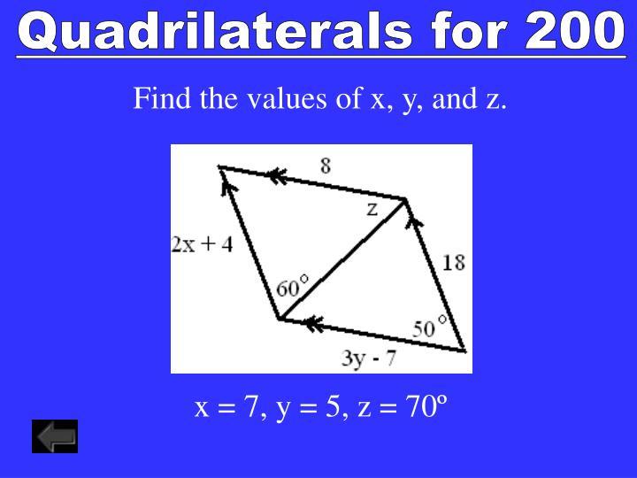 Quadrilaterals for 200
