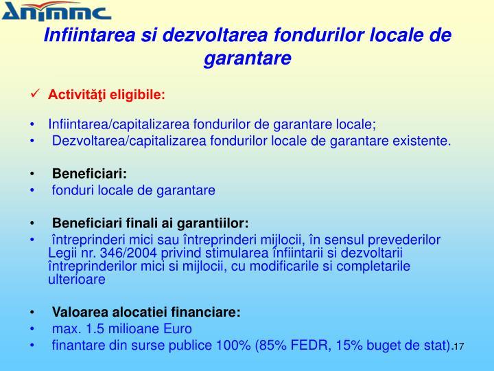 Infiintarea si dezvoltarea fondurilor locale de garantare