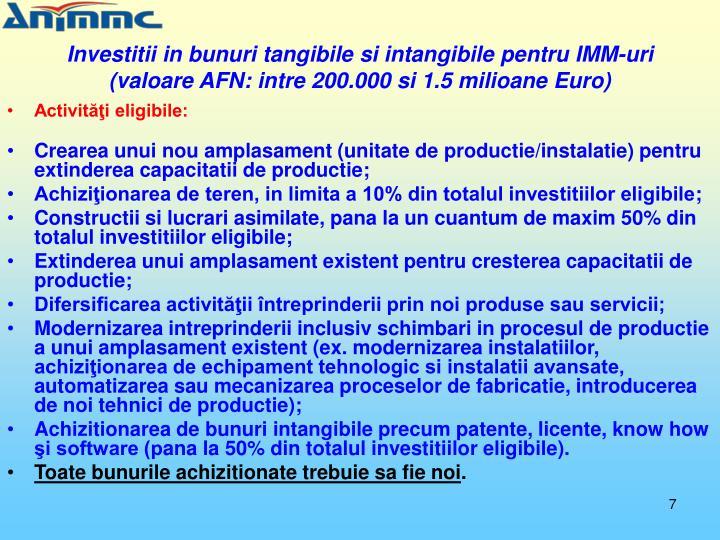 Investitii in bunuri tangibile si intangibile pentru IMM-uri