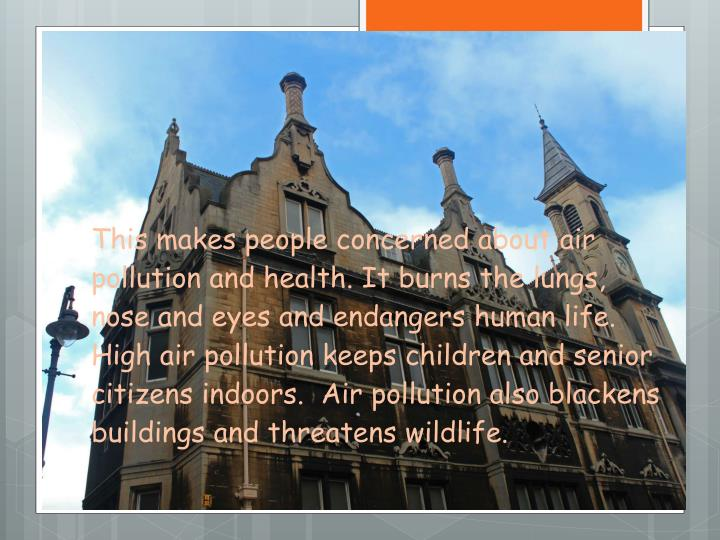 This makes people concerned about air pollution and health. It burns the lungs, nose and eyes and endangers human life.  High air pollution keeps children and senior citizens indoors.  Air pollution also blackens buildings and threatens wildlife.