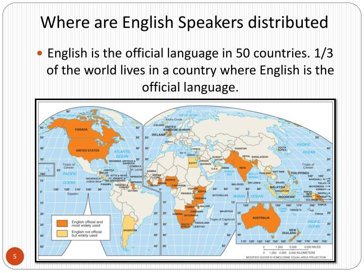 Where are English Speakers distributed