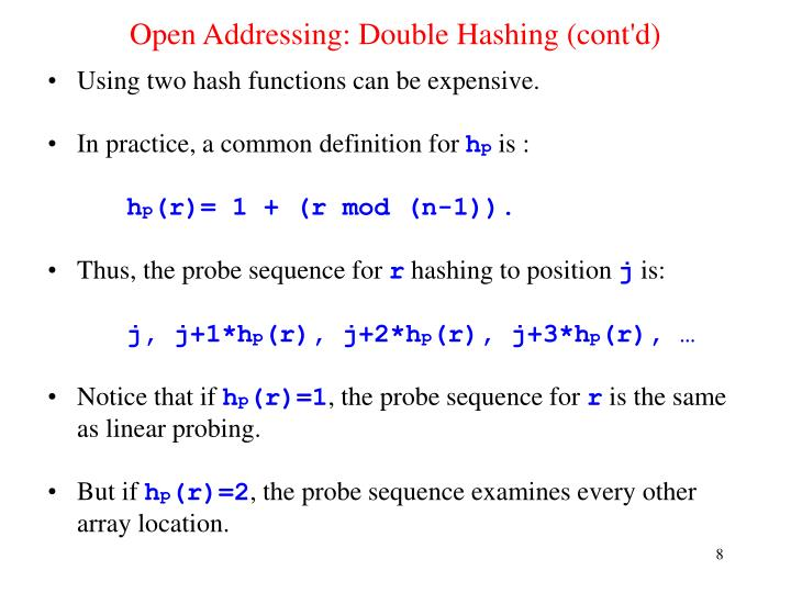 Open Addressing: Double Hashing (cont'd)