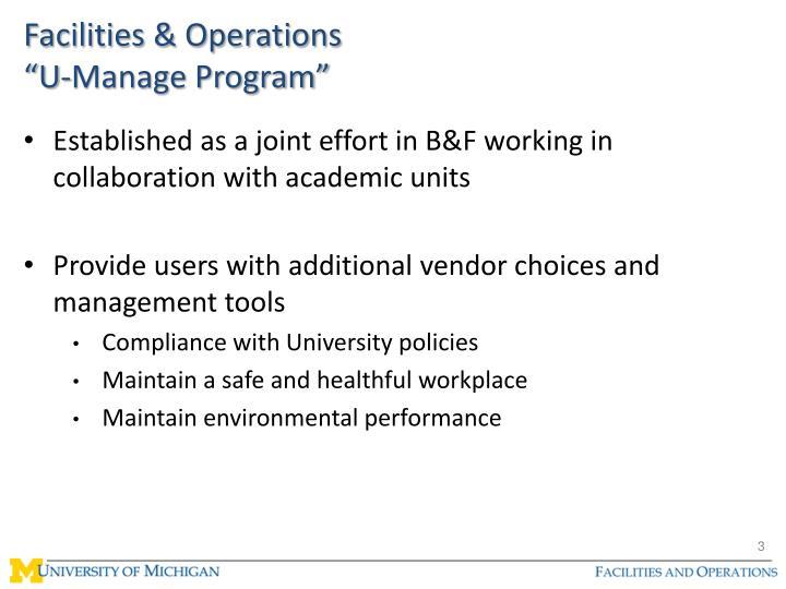 Facilities operations u manage program