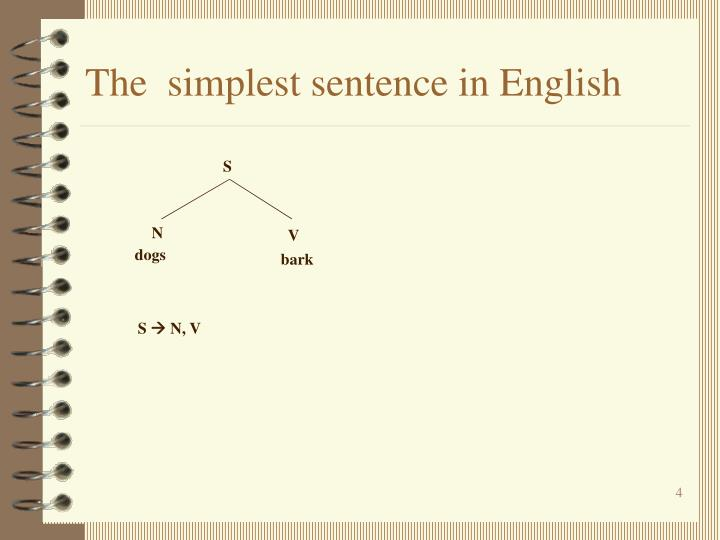 The  simplest sentence in English