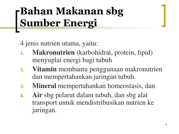 Bahan Makanan sbg Sumber Energi