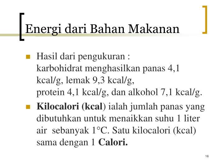Energi dari Bahan Makanan