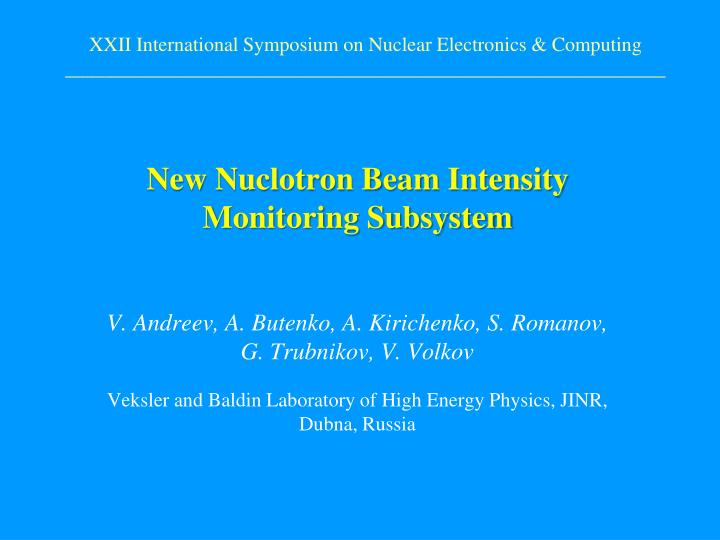 new nuclotron beam intensity monitoring subsystem n.