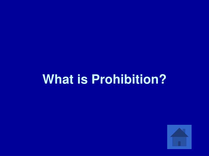 What is Prohibition?