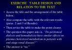 exercise table design and relation to the text