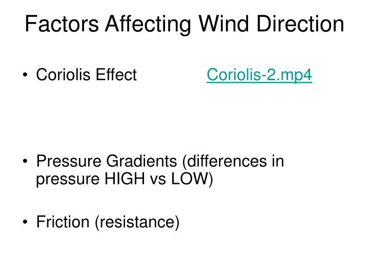 Factors Affecting Wind Direction