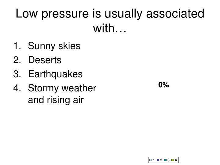 Low pressure is usually associated with…
