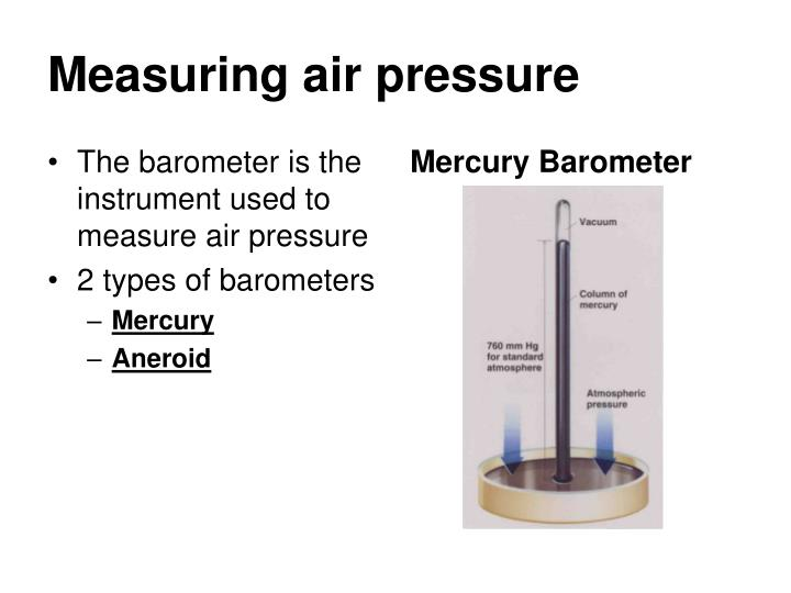 The barometer is the instrument used to measure air pressure