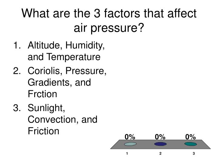 What are the 3 factors that affect air pressure?