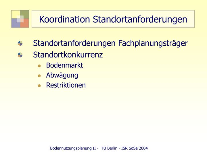 koordination standortanforderungen n.