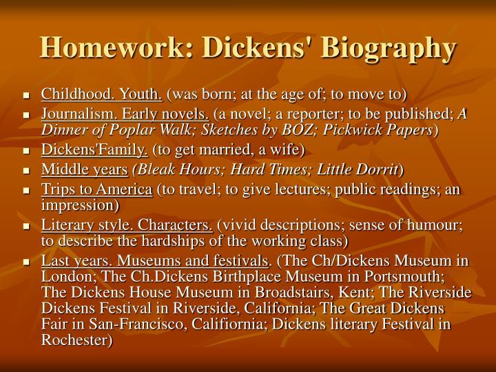Homework: Dickens