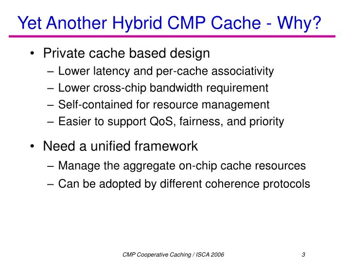 Yet another hybrid cmp cache why