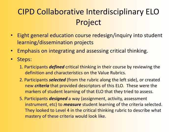CIPD Collaborative Interdisciplinary ELO Project